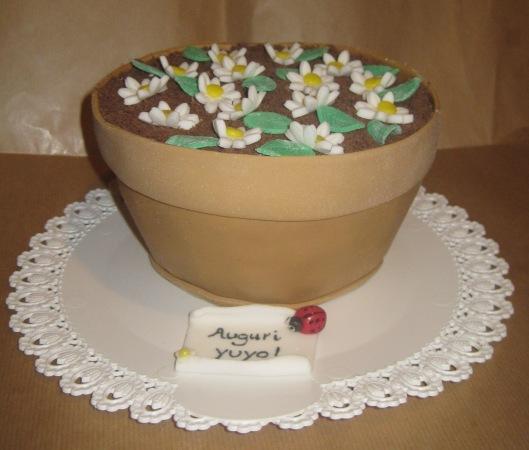 torta vaso di margherite